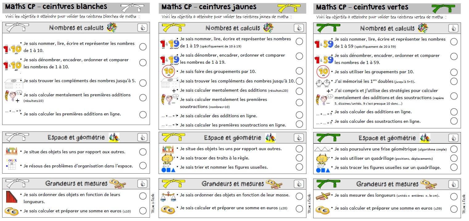 professionnel de la vente à chaud le dernier plus gros rabais Ceintures compétences CP français maths | TitLine à l'école